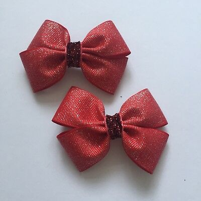 Pair Of Glittery Red Big Bow Hair Clips/aligator Clip/occasion