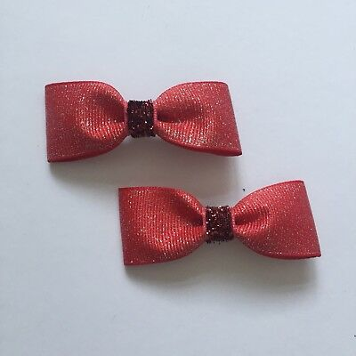 2 Packs Of Glittery Red Bow Hair Clips/aligator Clip/occasion