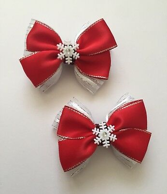 Pair Of Red Silvery Hair Bow Clips/With Snowflakes/girls Accessories