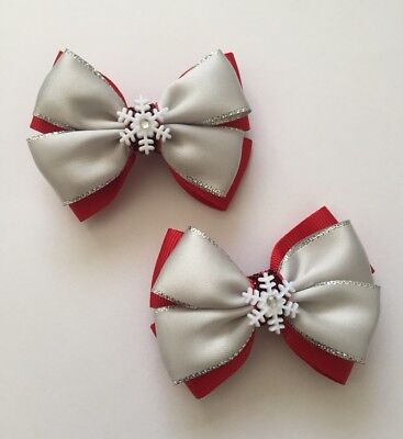 Pair Of Silvery Red With Snowflakes Hair Bow Clip/ girls Accessories