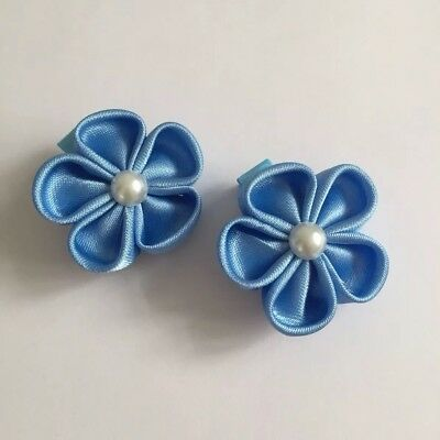 Clibella SALE! Pair of blue spring flower Hair Clips/girls Accessories/flower