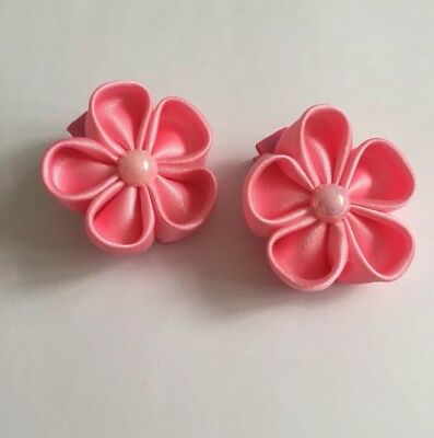 Clibella SALE! Pair of Pink spring flower Hair Clips/girls Accessories/flower
