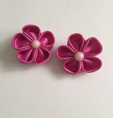 Clibella SALE! Pair of Purple magenta spring flower Hair Clips/girls Accessories