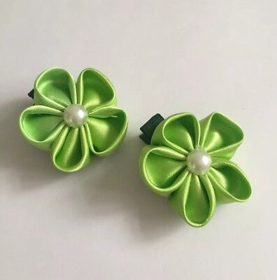 Clibella SALE! Pair of Green spring flower Hair Clips/girls Accessories/flower