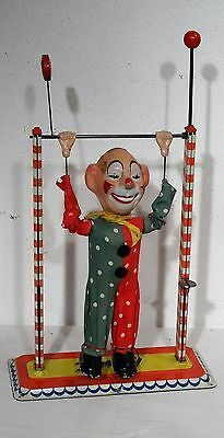 """Antikes Blechspielzeug Arnold Clown """" Jimmi """" am Rack - made in W.-Germany ~50er"""