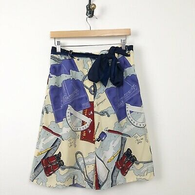 Vintage Wide Leg Shorts Size 10 12 High Waisted Graphic Nautical Retro 90s