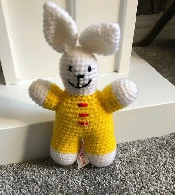 """Cath Kidston Cath Kids Knitted Bunny Rabbit Soft Toy Comforter Yellow & White 6"""""""