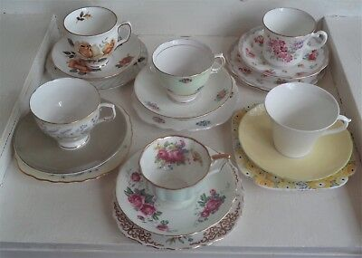 Pretty Vintage Crazy Set of 6 Fine Bone China Trios  - Made in England