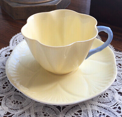 Vintage Shelley Bone China Soft Yellow Dainty Tea Cup and Saucer Duo Circa 1945
