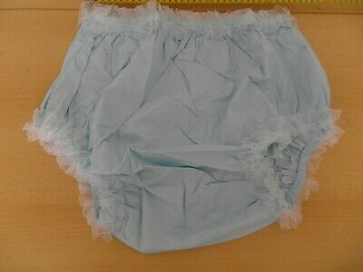 """Adult  Baby Sky Blue Sissy Frilly Plastic Pants. Size L,  29""""-34"""" Waist"""