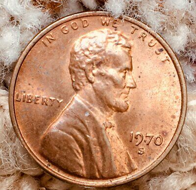 1970-S 1C CENT LINCOLN PENNY ERROR COIN-Slight Doubling of Date and Mint Mark