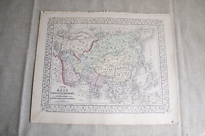 Beautiful Antique 1867 S. Augustus Mitchell Map of Asia London India China Japan