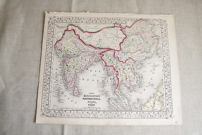 Antique 1867 S. Augustus Mitchell Map of Hindoostan, Farther India, China, Tibet