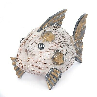 Hand Made Fair Trade Painted Coconut Fish - White - FIS-003-WHITE