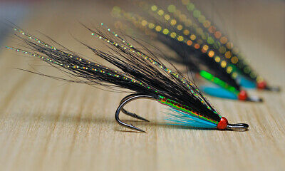 """Salmon flies, """"Haugur """" (3-pack), Double hook, size 8-10, Fly Fishing Fly"""