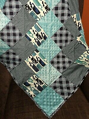 Whales baby blanket, crib bedding, patchwork with Minky and flannel
