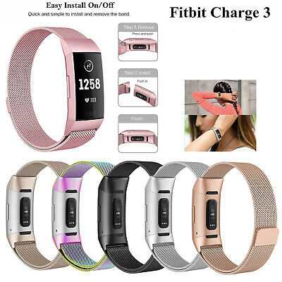 Replacement Milanese Band Stainless Steel Magnet For Fitbit Charge 3 Strap