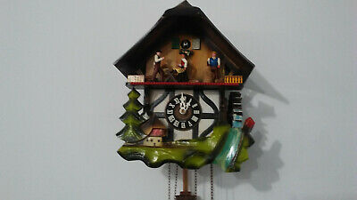German made Vintage Musical Woodchopper 1 Day Cuckoo Clock