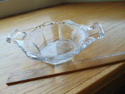 Vintage clear glass candy dish with two handles-