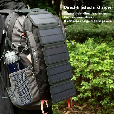 SunPower Folding 10W Solar Cell Charger 5V2.1A USB Portable Panel For Smartphone