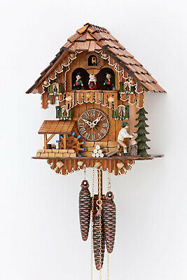 Black Forest Regula Musical Mechanical Cuckoo Clock Moving Lumberjack Waterwheel