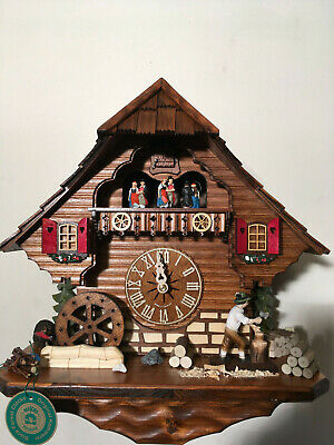 Black Forest 8-Day Musical Mechanical Cockoo Clock Dancers Axe Man & Waterwheel