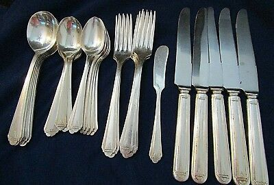 "Vtg. Oneida Art Deco Tudor Plate ""Barbara"" Pattern Flatware Set - 31 Pcs."