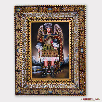 Archangel Michael, Peruvian Large Wall Art Glass Framed, Cuzco Painting on Wood