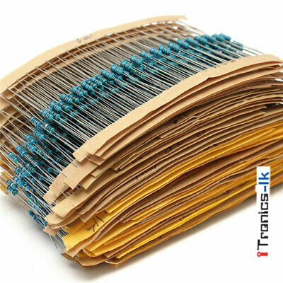 2600pcs 130 Values 1/4W 0.25W 1% Metal Film Resistors Assorted Pack Kit Set Lot