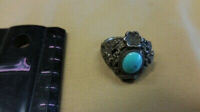 VINTAGE c. 1940-50S NAVAJO STERLING SILVER TURQUOISE RING SZ. 6.5 WITH 4 FLOWERS