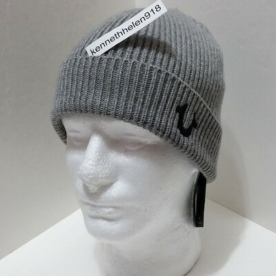 4130c8e35d37d True Religion Mens Ribbed Knit Watchcap Beanie Hat Minimal Grey One Size