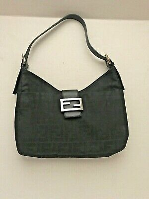 90c149048fe1 FENDI Black Zucca FF Monogram Nylon Leather Shoulder Bag Women s FF Flap  Dustbag