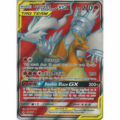POKEMON TCG SM UNBROKEN BONDS FULL ART RESHIRAM /& CHARIZARD GX 194//214