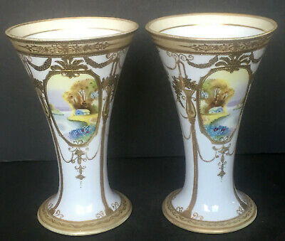 Hand Painted Noritake 8 Inch Vases With Heavy Gold And Raised Jeweled Details
