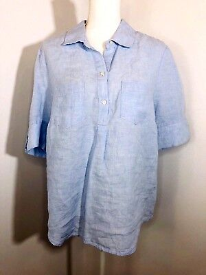1632ba22639bf5 Lord & Taylor Size Large Short Sleeve Shirt Popover Collared Buttons Linen  Blue