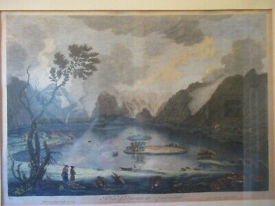 "Antique English engraving  ""A View of Derwentwater"" by Thomas Smith of Derby"
