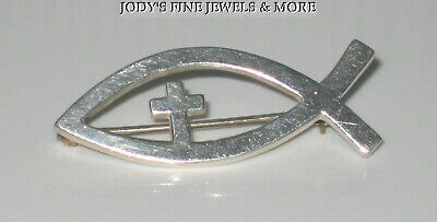 Spectacular Estate Sterling Silver James Avery Christian Fish Lapel Pin Brooch