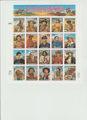 1994 Scott #2869 a-tno  29¢ Legends of the West - Souvenir Sheet of 20 - Mint NH