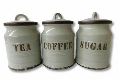 French Country Kitchen Canisters GREY TEA, COFFEE, SUGAR with Seals Set of 3 ...