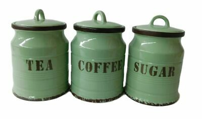French Country Kitchen Canisters GREEN TEA, COFFEE, SUGAR with Seals Set of 3...