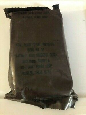~Nos! Us Military Menu No 10 Vintage Brown Mre Meatballs W/ Bbq Sauce Right Away