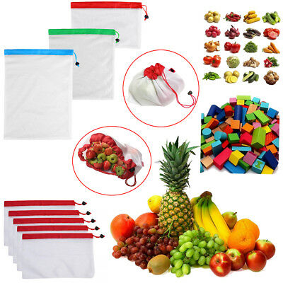 15x Eco Friendly Reusable Mesh Produce Bags Superior Double-Stitched Strength C