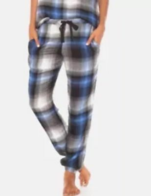 Other Women's Intimates Cloth Stone Flannel Drawstring Jogger Pant Lounge Blue Plaid S Nwt $69