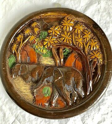 """Hand Carved Wood Plaque Elephants 3D Round Wall Hanging 10"""""""