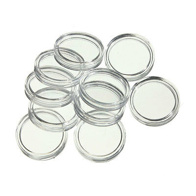 10 x 33mm Clear Coin Capsule Display Case Holder - Fits 50 Cent Australian Coin