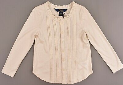 POLO RALPH LAUREN Girls' Kids' Long Sleeve Top, Cream, size 4 years