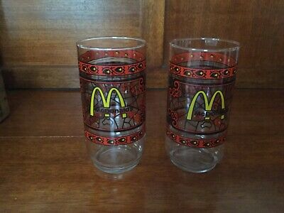 2 X vintage McDonalds Coca Cola glasses, stained glass Tiffany look