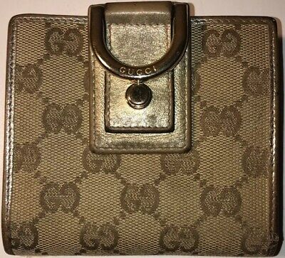 0c22566b4a6 AUTHENTIC VINTAGE GUCCI Wallet Brown Signature GG Monogram Racing ...