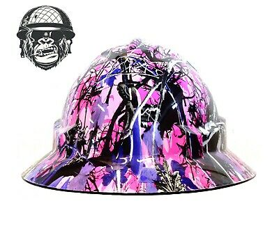 Custom Hydrographic Wide Brim Safety Hard Hats PINK CAMO WIDE