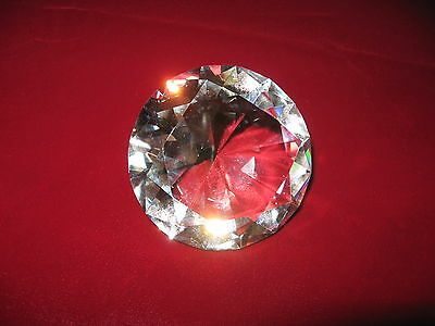 Round clear white colorless diamond cut 80mm crystal paperweight